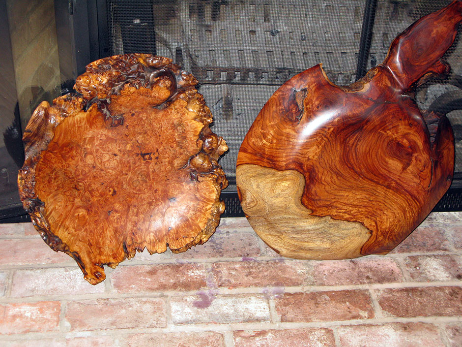 Comparing grains of maple burl,(left) and Indian Rosewood undersurface, (right)