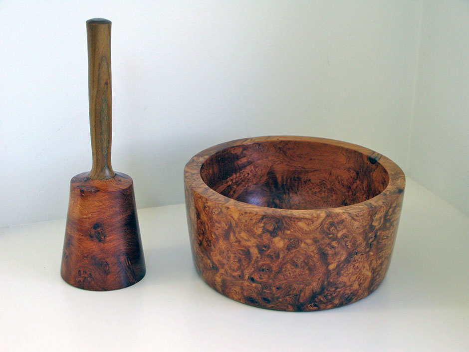 Amboyna Burl Mallet and Trivet Box for mens car keys and wallet